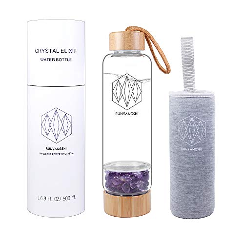 Runyangshi Crystal Elixir Water Bottle, 16.9oz Natural Gemstone Borosilicate Glass & Bamboo Water Bottle, Includes Neoprene Sleeve and Removable Crystal (Amethyst)