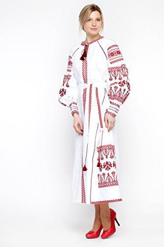 Vita estilo rojo Vestido bordado blanco ucraniano Kin Vyshyvanka CfzxqwgZnF