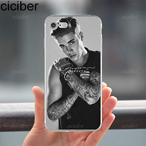 Grey Justin Bieber iPhone 8 Plus Size Case Bigger Screen Canadian Singer Actor Songwriter Pop Star 7 Plus Cover Music Song Writer Artist Cute Sexy Hot, Gray Black, Silicone