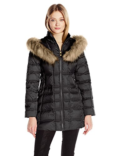 Betsey Johnson Women's 3/4 Puffer with Corset Side and Faux Fur Heart Hood, Black, S