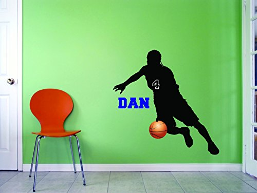 PERSONALIZED Name & Team Number Custom Vinyl Wall Decal Sticker Basketball Position Shooting Guard Kids Offense Defense 14x28 Inches