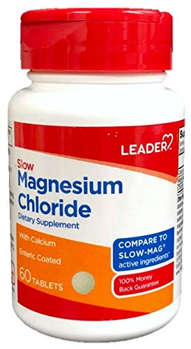 Magnesium Chloride Dietary Supplement - Leader Slow Magnesium Chloride with Calcium, 60 Enteric Coated Tablets (Pack of 2)