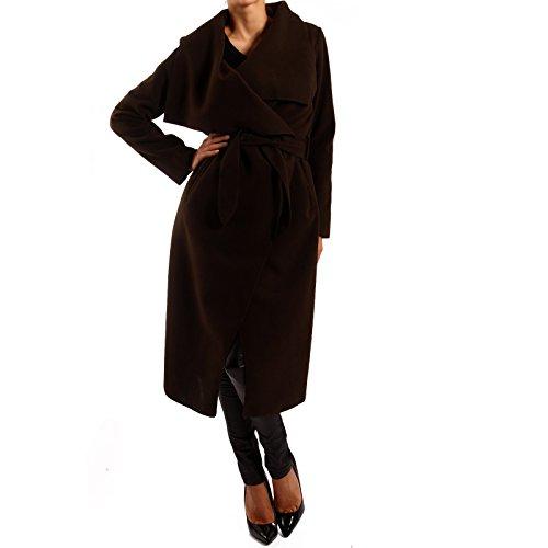 Mujer Abrigo con cinturón Business de estilo marrón oscuro