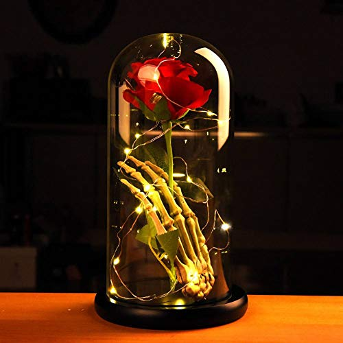Norbi Beauty and The Beast Rose Skull Hand Led Light with Eternal Flower Rose in Glass Dome on Paint Base Gift for Valentine's Day Christmas Wedding Anniversary Birthday A2 -