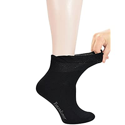 Yomandamor Women's 5 Pairs Non-binding Bamboo Diabetic Ankle Dress/Casual Socks with Seamless Toe at Women's Clothing store