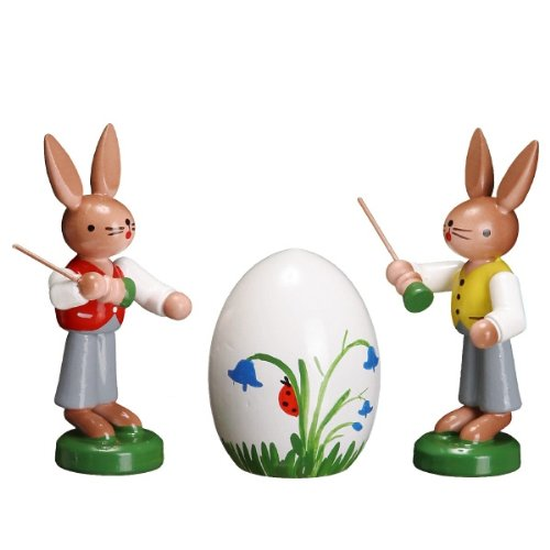 Cute Miniature of 2 Easter Artist Painting an Egg 2 Inch
