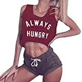 Women Crop Tank Tops Workout Sport Camis Tops Always Hungry Print Camisole by Lowprofile Wine Red