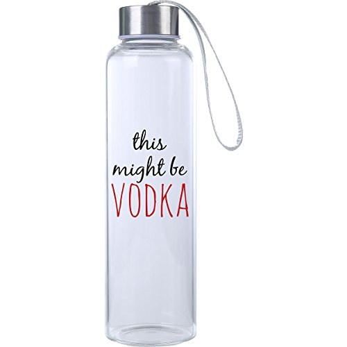 "Mad 2 Order ""This Might Be Vodka"" Funny Premium Glass Water Bottle 20oz, BPA Free, Secure Cap with Carry Strap, The and Workout Water (Premium Vodka)"