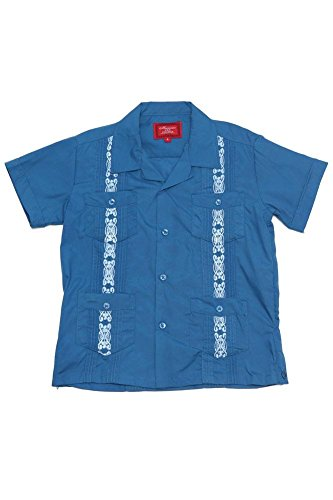 G-Style USA Boys Junior Kids Youth Guayabera Cuban Short Sleeve Collared Embroidered 4 Pocket Cotton Blend Shirt 2017-KS - Blue - 16