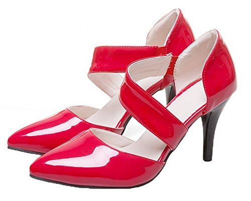 à Unie Couleur Rouge Femme Haut Verni Lastique VogueZone009 Talon Sandales vxARgfqcw