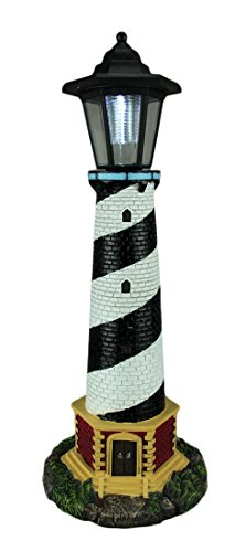 World Of Wonders Resin Outdoor Statues Guiding Light Black And White Solar Led Outdoor Lighthouse Statue 8 X 20.5 X 8 Inches ()
