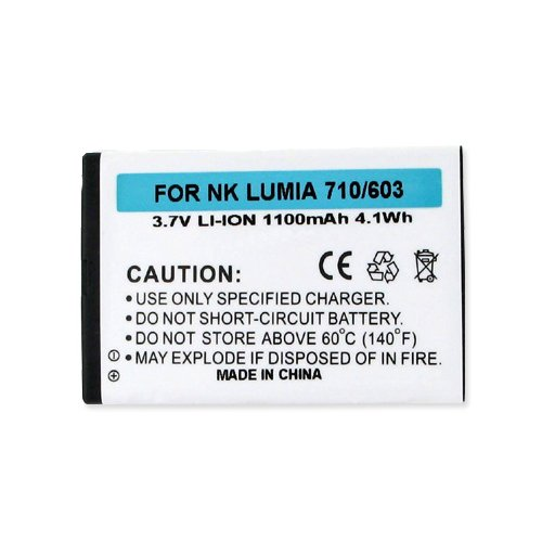 Li Ion Rechargable Battery - Nokia Lumina 603 Cell Phone Battery (Li-Ion 3.7V 1100mAh) Rechargable Battery - Replacement For Nokia Lumina 303 Cellphone Battery