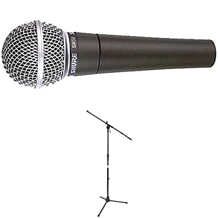Shure SM58S Vocal Microphone (with On/Off Switch) with On Stage Stands MS7701 Tripod Boom Microphone Stand