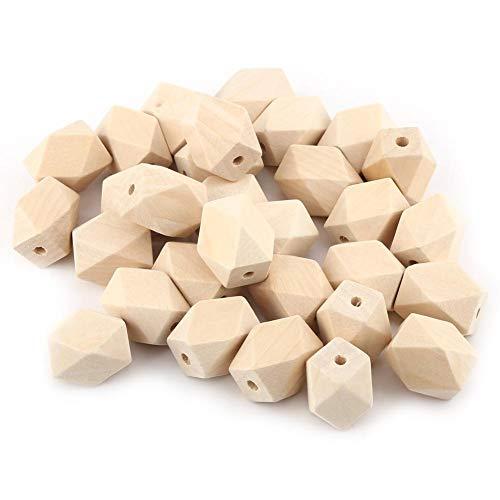 Aufee Wooden Beads, 30Pcs/Lot Natural Geometric Wooden Beads Figure Wooden Beads Faceted Cube for Necklace Bracelet DIY Craft