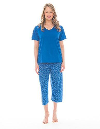 Butterfly Capri Set - Pink Lady Women's V-Neck Tee and Capri 2 Piece Lightweight Pajama Set (Azure Blue Butterfly V Neck, XX-Large)