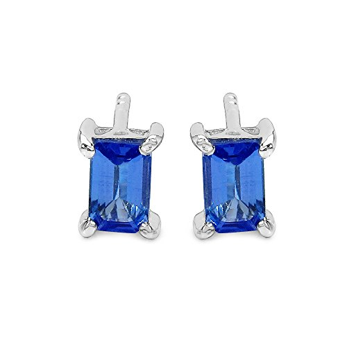 Johareez Emerald Cut Tanzanite Earrings in Sterling Silver