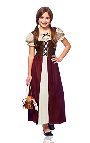 Costume Culture Peasant Girl Costume, Burgundy, Large Child Renaissance Peasant Girl
