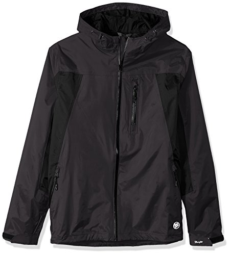 Wrangler Coat (Wrangler Men's Big and Tall Waterproof Zip Front Rain Jacket, Black/Grey, 4X)