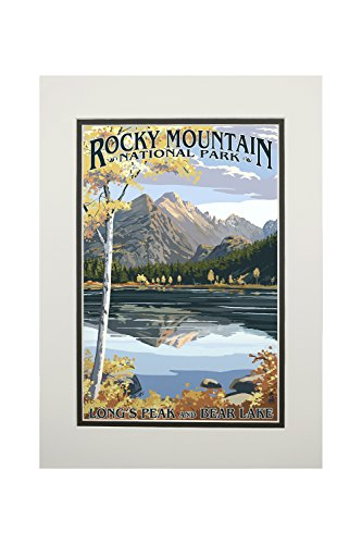 Rocky Mountain National Park, Colorado - Longs Peak and Bear Lake Fall (11x14 Double-Matted Art Print, Wall Decor Ready to Frame)