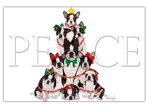 Boston Terrier Christmas Cards Peace : 10 Holiday Cards with Red Envelopes - ADORABLE!