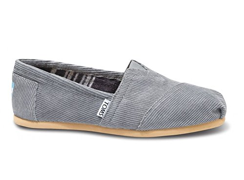 Toms Shoes Womens Classics Grey Corduroy Slip-On Shoes