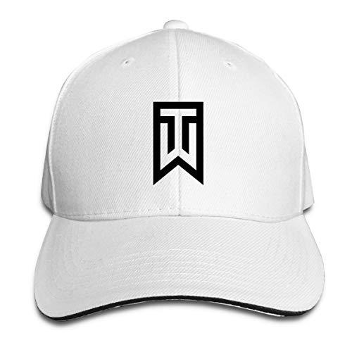 Lkbihl Tiger Woods Logo Unisex Adult Adjustable Peaked Sandwich Hats Trucker Cap Baseball Cap White ()