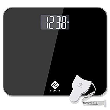 Etekcity Digital Body Weight Scale: Ultra Wide Platform, Tempered Glass Surface, 440 Pounds, Elegant Black