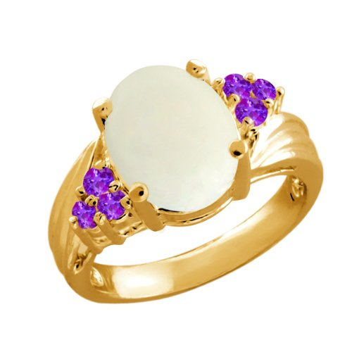 2.39 Ct Oval Cabouchon White Opal Purple Amethyst 14K Yellow Gold Ring