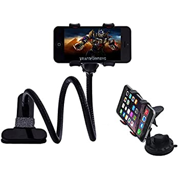 Car Smartphone Mount and Gooseneck Phone Holder with Long Arms for Desk Chair Bed Handsfree Cell Phone Stand Perfectly Fit iPhone and Any Other Devices