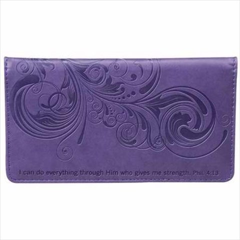 Christian Art Gifts 362316 Checkbook Cover I Can Do Everything Purple