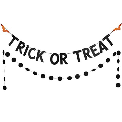 Black Glittery Trick or Treat Banner and Black Glittery Circle Dots Garland(25pcs Circle Dots) Halloween Party Decoration Supplies -