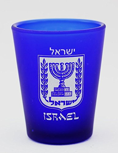Israel Shield Cobalt Blue Frosted Shot Glass