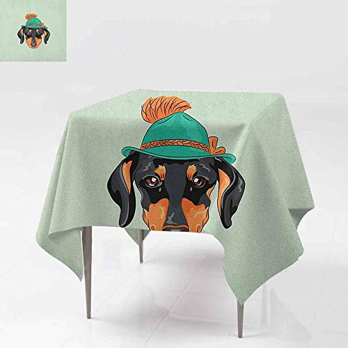 (AndyTours Spill-Proof Table Cover,Dachshund,Hipster Pure Breed Dog Silhouette in a Green Tyrolean Hat Cute Dachshund Puppy,Table Cover for Kitchen Dinning Tabletop Decoratio,50x50 Inch Multicolor)