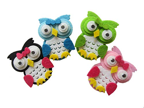 Pack of 20 Owl Felt Animals for Baby Shower Party Decoration Scrapbooking Craft Projects (4 Colors)