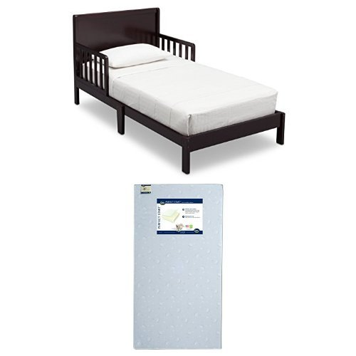 Delta Children Fabio Toddler Bed, Dark Chocolate with Serta Perfect Start Crib and Toddler Mattress