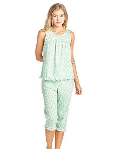 Casual Nights Women's Sleeveless Tank Top Capri Pajama Set - Green - XX-Large