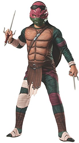 Rubies Teenage Mutant Ninja Turtles Deluxe Muscle-Chest Raphael Costume, Child Small (Teenage Mutant Ninja Turtle Costume For Women)