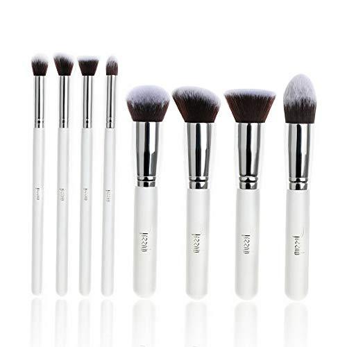 Kaputar 8pcs Pro Kabuki Makeup Brush Set Cosmetics Foundation blending powder kit | Model MKPBRSH - 3513 | Face-8pcs set -White ()