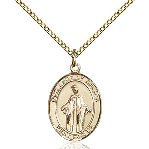 Gold Filled Our Lady of Africa Pendant 3/4 x 1/2 inches with Gold Filled Lite Curb Chain by Bonyak Jewelry