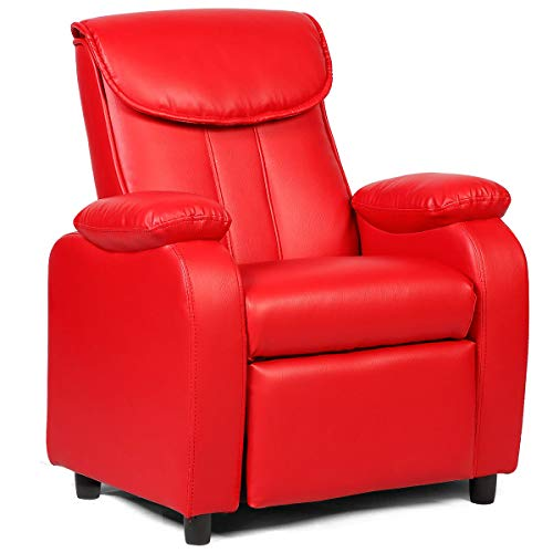 Costzon Deluxe Children Recliner Sofa Armrest Chair Living Room Bedroom Couch Home Furniture (Red)