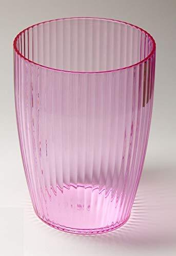 Ben & Jonah Ribbed Acrylic Waste Basket in Pink Splash Collection ()