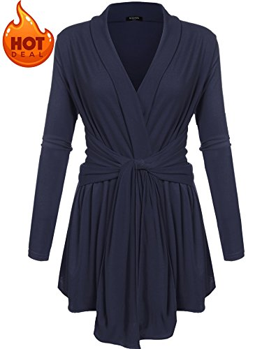 ACEVOG Women's Wrap Cardigan Crew Neck Knited Belted Sweater Coat Outwear Dark Blue (Belted Maternity Sweater)