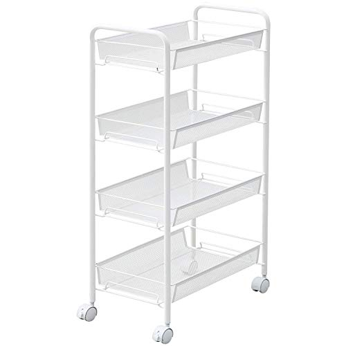 IRSHOME Metal Mesh 4 Tier Small Storage Rolling Utility Cart with Wheels for Bathroom, Dorm, Bedroom, Office, Kitchen, No Tool Required -White