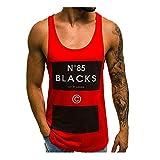 Mijaution Men's Short Sleeve Fashion Letter Print Vest Loose Sleeveless Top Summer Cool Sports Fitness Sweat Open Vest (Red,XXL)