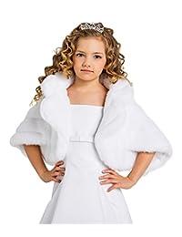 Lacey Bell Girls Communion Flower Girl Soft Faux Fur Wrap Shawl CJ74
