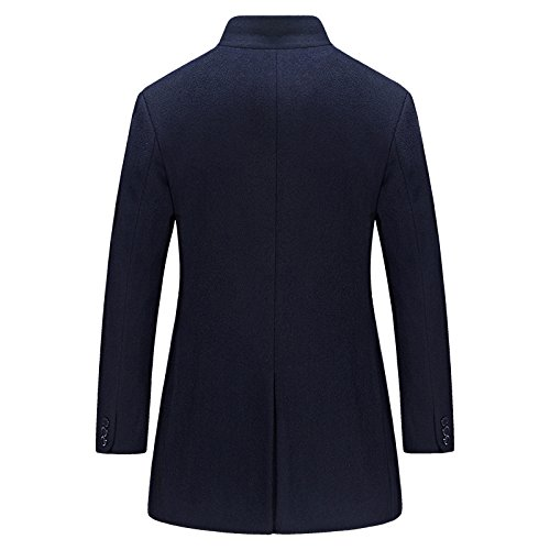 up Men's Section Business Jacket aged Trench Stand Woolen Collar Long Classic Woolen To Jacket Wool Darkblue Coats Middle New Cashmere Medium Coat PrAwYPq