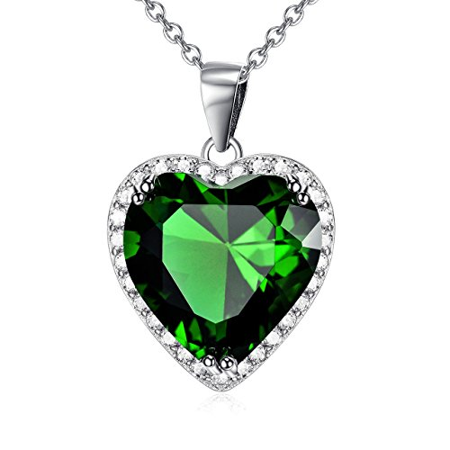 Green Stone Pendant (Green October Birthstone Love Heart Pendant Necklace Sterling Silver Solitaire Cubic Zircon Women Jewelry Set (October-Tourmaline))