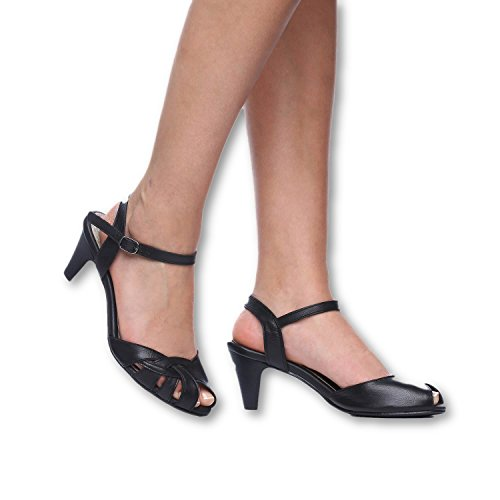 B-Unique High Heel Sandals for Women 2.75 inch Leather Heeled Sandal Open - Unique High Sandals Heel