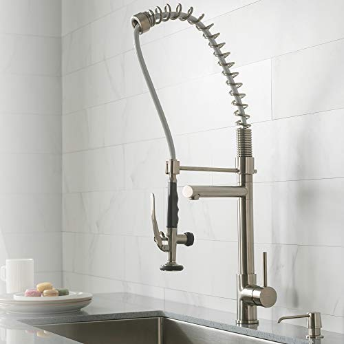 Kraus KPF-1602SS Single Handle Pull Down Kitchen Faucet Commercial Style Pre-rinse, Stainless Steel (Nozzle Mount Gooseneck Deck Faucet)