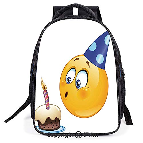 Double Strap Multipurpose Backpack,Happy Emoji Face with Cone Hat Blowing Party Cake,Polyester fiber,Large Capacity